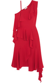 Asymmetric ruffled one-shoulder silk-crepe midi dress