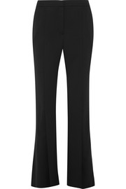 Pleated crepe straight-leg pants