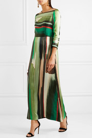 Printed silk-satin maxi dress