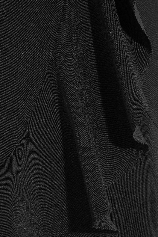 Goen J Asymmetric ruffled silk-satin midi skirt