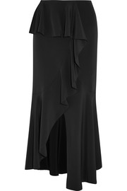 Asymmetric ruffled silk-satin midi skirt