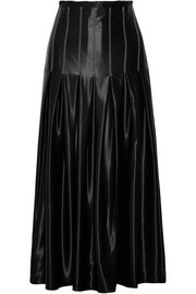 Lalande pleated satin midi skirt