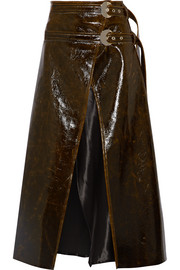Pistol satin-trimmed coated wool-blend wrap midi skirt