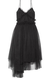 Pleated tulle midi dress