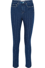 MSGM Distressed pinstriped high-rise skinny jeans