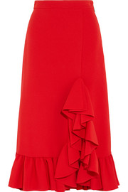 Ruffled crepe midi skirt