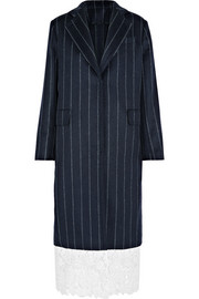 Lace-trimmed pinstriped wool-blend coat