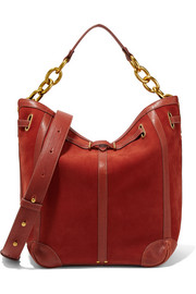 Tanguy leather-trimmed nubuck shoulder bag