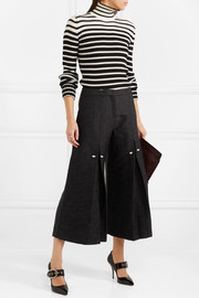 Bennie faux pearl-embellished pleated jacquard pants