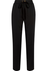 Austin velvet-trimmed satin straight-leg pants