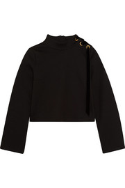 Leah velvet-trimmed cotton and modal-blend jersey sweatshirt