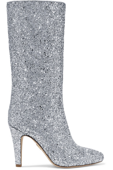 BROTHER VELLIES Elevator Glittered Leather Boots in Silver