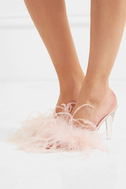 Palms feather-embellished satin mules