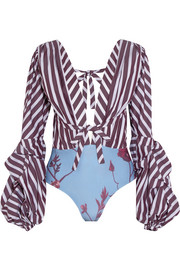 Floure striped cotton-blend poplin and printed jersey bodysuit