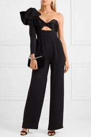 Love Spell one-shoulder cutout silk-faille and satin jumpsuit