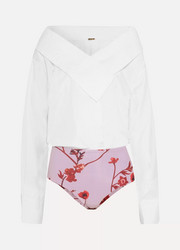 Johanna Ortiz Alida cotton-blend poplin and floral-print jersey bodysuit