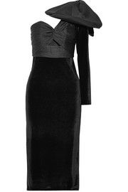 Malagueña one-shoulder bow-embellished satin and velvet midi dress