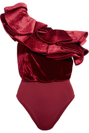 Lorca one-shoulder ruffled satin, velvet and jersey bodysuit