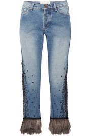 Johanna Ortiz Petra feather-trimmed embellished boyfriend jeans