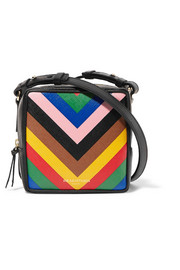 Sara Battaglia Cube striped textured-leather shoulder bag