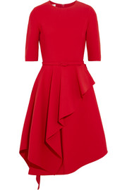 Oscar de la Renta Ruffled stretch wool-blend dress
