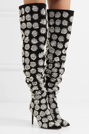 Embellished suede thigh boots