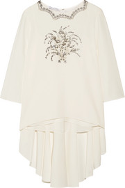 Embellished embroidered stretch-silk top
