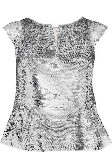 Oscar de la Renta - Sequined Silk-organza Peplum Top - Silver