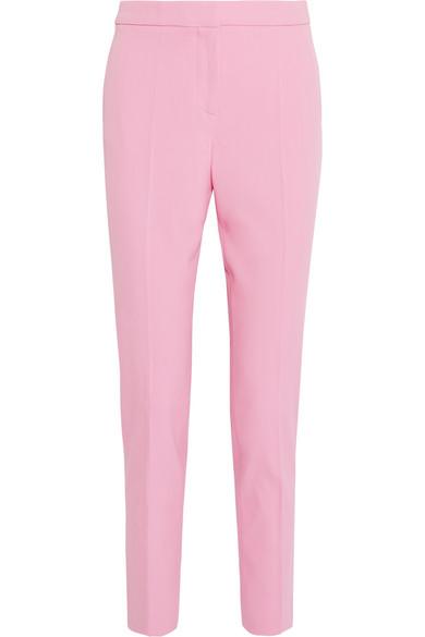 Wool-blend Gabardine Straight-leg Pants - Pink Oscar De La Renta rZgE98vmfK