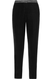 Oscar de la Renta Silk satin-trimmed velvet tapered pants