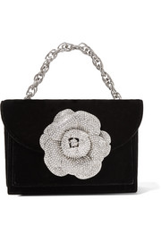 TRO crystal-embellished velvet shoulder bag