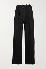 Belted jersey wide-leg pants