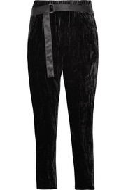Cropped satin-trimmed crushed-velvet tapered pants