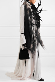 Feather and goat hair-trimmed wool-blend vest