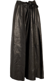 Gathered leather maxi skirt