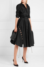 Antonio Berardi Mesh-trimmed cotton-poplin skirt