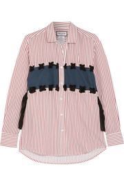 Paul & Joe Silk-paneled pinstriped poplin shirt