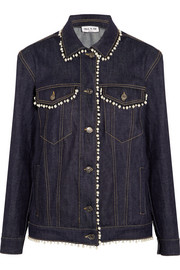 Faux pearl-embellished denim jacket