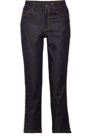 Paul & Joe Ontario cropped embellished high-rise straight-leg jeans