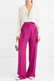 Paul & Joe Hammered satin-trimmed crepe wide-leg pants