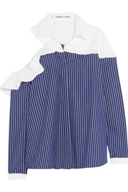 Sandy Liang Charles cutout ruffled striped cotton-poplin shirt