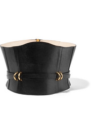 Embellished croc-effect leather waist belt