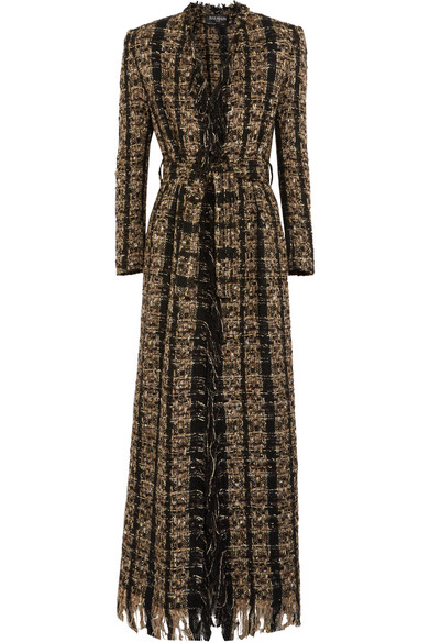 Balmain - Belted Metallic Bouclé-tweed Coat - Black