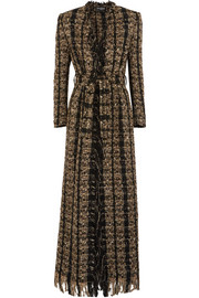 Balmain Belted metallic bouclé-tweed coat
