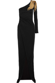 Embellished one-shoulder stretch-jersey gown