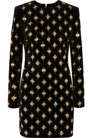 Balmain Embellished cotton-blend velvet mini dress