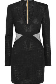 Balmain Mesh-trimmed croc-effect stretch-knit mini dress