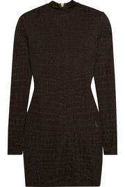 Balmain Croc-effect knitted mini dress