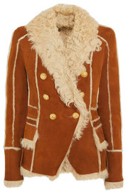Double-breasted shearling-trimmed suede jacket