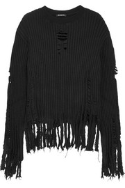 Balmain Distressed ribbed wool sweater